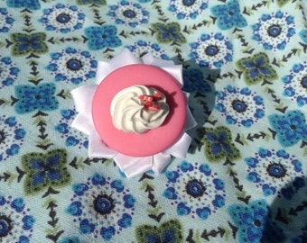Strawberries and cream with ribbon hair clip