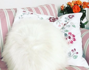 Round Furry Pillow /Sheepskin Cushions - 7 different colours, 6 sizes!