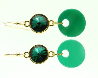 Green Agate Earrings with Green Swarovski Crystal