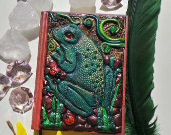 Notebook, journal with a frog-polymer clay cover notebook frog
