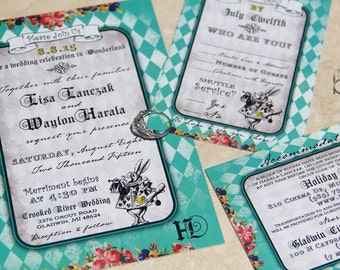 Vintage, Alice In Wonderland Wedding Invitation Set With Mophart  Illustrations. Whimsical Alice In Wonderland
