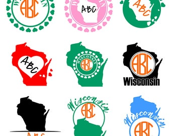 Wisconsin Monogram Svg  - Wisconsin state vector, american states svg, silhouette cameo, cricut. Digital download vector files. Ai, Eps, Cdr