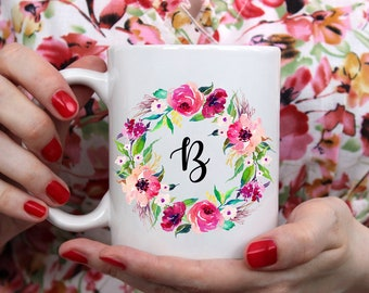 Custom Mug Custom monogram mug Custom Typography Art Ceramic Mug Personalized Mug Custom Name Personalized Floral Wreath Mug Watercolor Mug