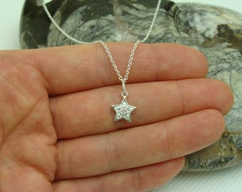 Star Sterling Silver Necklace, Sterling Silver necklace with Sterling Silver 9mm Star pendant/charm