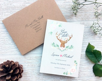 Bohemian Forest // customisable deer wedding save the date
