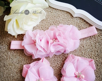 Pink Baby Barefoot Sandals and Headband Set ,Elastic Sandals, Baby Accessories, Baby Gift Set