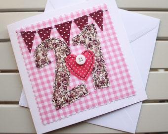 21st Birthday Card - Handmade - Machine Embroidered - 21 - Personalised Insert