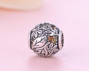 Authentic Sterling silver leaf charm beads perfect fit for pandora and troll or european bracelets