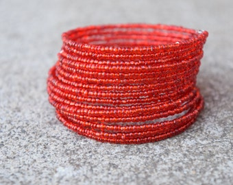 Bright Fire Truck Red Wrap Around Memory Wire Multi Stack Seed Bead Bracelet