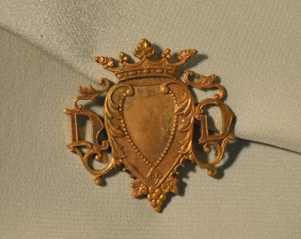 Vintage French Heart Crown Notre Dame Our Lady Raw Brass Emblem 1 Piece 90J