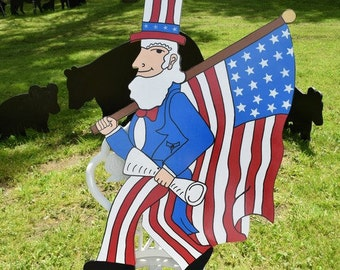 Uncle Sam Yard Art, Uncle Sam Yard Stake, Patriotic July 4th Outdoor Yard Decoration, 4th of July Garden Stake Decoration