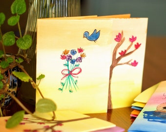 Blue Bird and Flower Bouquet Hand Painted Watercolor Card