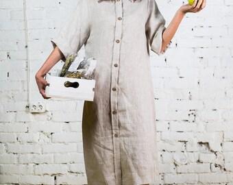 Midi linen dress, black linen dress, linen dress, linen robe,linen shirt dress,every day dress,summer linen dress,short sleeves dress/LD0009
