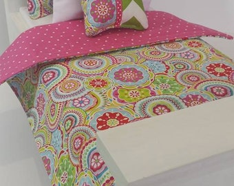 "18"" Doll Bedding Set, Colorful Flowers Doll Bedding, Made to Fit 18"" Dolls Such as The American Girl Dolls"