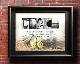 Softball Coach Gift, Thank You Coach Softball, Custom Coach Printable Appreciation, Softball Coach Gifts, Softball Coach Retirement DIGITAL