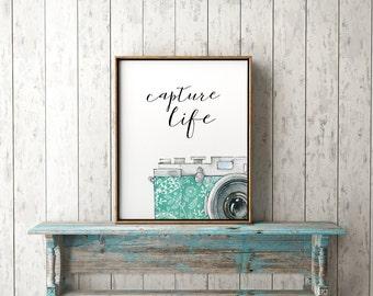 Capture Life Print-Camera Print-Vintage Camera-Capture Life-Watercolor Camera-Hobby Print-Printable Art-Instant Download-Wall Art Decor