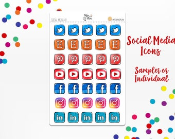 Social Media Icons- Planner Stickers