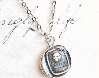 Skull Wax Seal Necklace in Fine Silver, Memento Mori Mourning Jewelry