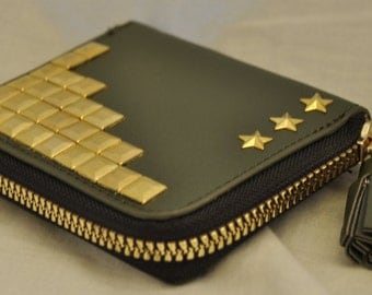 Olive Faux Leather Gold Studded  Coin Purse