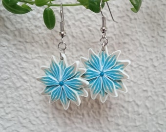 Flowers in clay polymer, sand and turquoise earrings mounted on silver silver metal (sculpey)