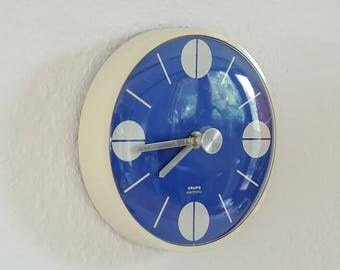 "Space age kitchen clock. ""electronic Krups"". Germany, Europe 70s. Blue vintage wall clock. Electro mechanical clock.  Kitchen decoration."