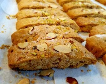 Gifts/Biscotti Italian cookies/anise/almond & pistachio/lemon poppy/chocolate Pistachio/brown sugar/whole wheat/granola/kracnola