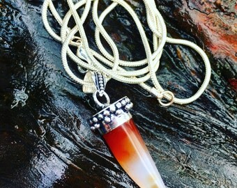 The Kalila Pendant - Carnelian tiger tooth silver pendant necklace