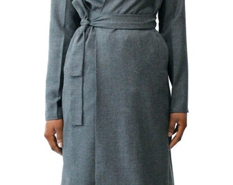 Wool Suiting Wrap Dress & Duster Jacket