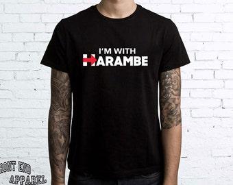 Harambe Tshirt I'm With Harambe Funny Harambe Tees tumblr T-shirt Gorilla Funny FEA116