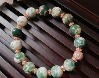 10mm Green Moss Agate Yoga Mala Beaded Bracelet. Healing Natural Gemstone Bracelet. Stretch Bracelet. Meditation Bracelet. Wrist Mala.