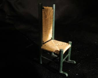 """a """"rush"""" Rocking chair'  hand made rocking chair with rush style seating, miniature rocker dollhouse furniture"""