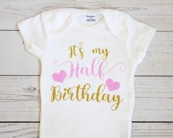Half birthday onesie | Half birthday outfit, Half birthday girl, Six month birthday, Half birthday, Birthday, 1/2 birthday, Onesie, Onesies