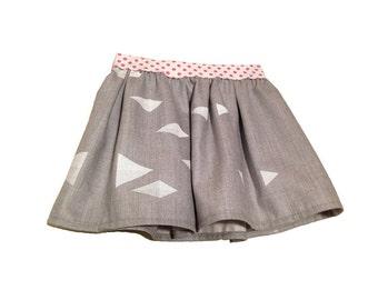 child pleated skirt wool or denim organic silkscreened.