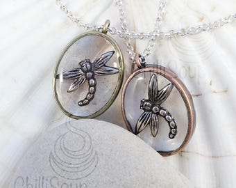 Dragonfly pendant - silver chain necklace - gift for her - Christmas - anniversary - silver necklace - Christmas