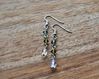 Green and Teal Swarovski Crystal Earrings