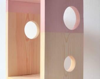 Wood Shelf - Blush Pink Shelf - Make Up Organization - Girls Bedroom Decor - Hallway Shelf - Open Storage - Nightstand - Bedroom Storage