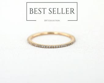 Diamond Eternity Wedding Band - Rose Gold Wedding Band -  Micro Pave Diamond Eternity Band avail in 14k Rose Gold, 14k White Gold, 14k Gold