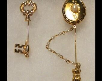Set of 2 Stick Pins - Locket