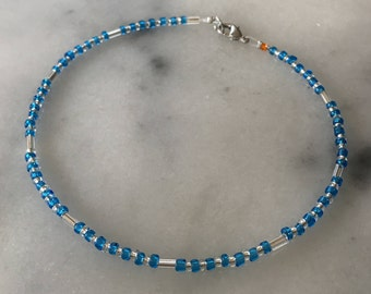 Simple Blue, Silver, and Clear Seabead Anklet