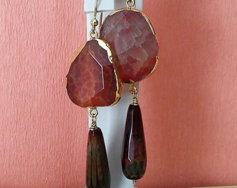 Silver and pink striped agate earrings