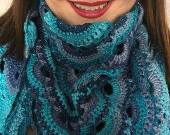 Virus Shaw, Crochet Shawl, Triangular Shawl, Colourful Shawl, Crochet Wrap, Crochet Scarf
