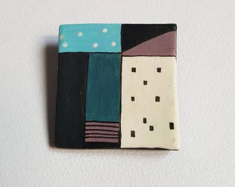Hand drawn air dry clay brooch, Geometric colorful brooch, Handmade clay brooch, Air dry clay minimal brooch, Square hand colored brooch