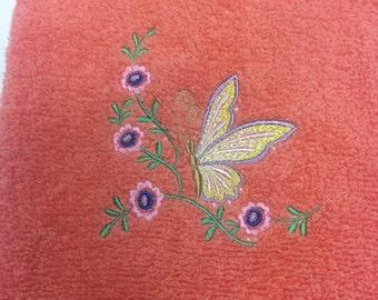 Georgia Peach Butterfly Bathroom Hand Towels