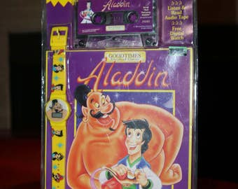 Aladdin Cassette Movie 1993 Tape Book Music Original With Watch Disney