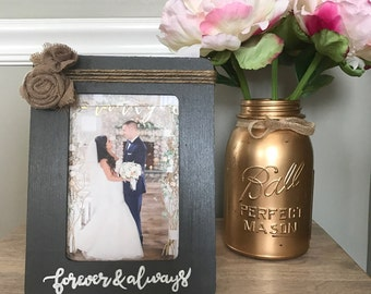Personalized frame with burlap flowers