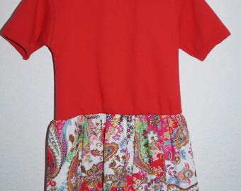 Pretty girl dress made of soft sweat with corduroy skirt in the Paisley pattern