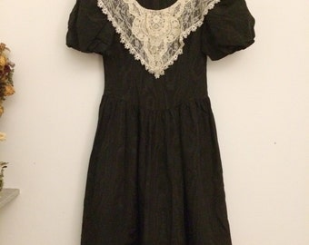 black taffetà maxi dress vintage u.s size 8