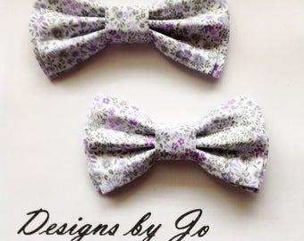 Bow Tie, Dad and Son Bow Ties, White-Lilac Floral Bow Ties,Father Son Bow Ties, Mens Bow Tie, Groomsmen Bow Tie, Bowtie, Boys Bow Tie  DS671