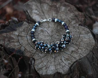 Black stylish bracelet with agate
