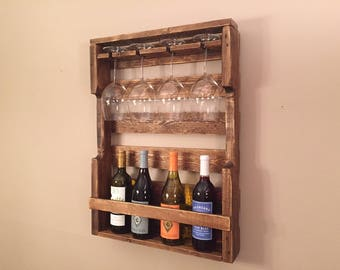 Wine rack - reclaimed skid wood - stained, weathered, rustic